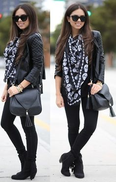Black Jeans, Forever 21 Black Top, Quilted Leather Jacket, Fringe Booties, Skull Scarf, Bag | Blacked out (by Daniela Ramirez) | LOOKBOOK.nu
