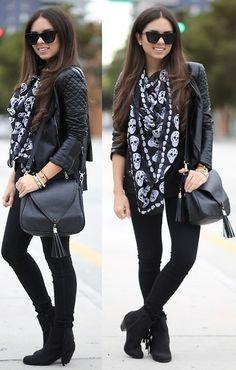 Black Jeans, Forever 21 Black Top, Quilted Leather Jacket, Fringe Booties, Skull Scarf, Bag | Blacked out (by Daniela Ramirez) | LOOKBOOK.nu