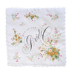 Fake Tears Floral Handkerchief Placement of design and consistency of print may vary. Lace Bag, Vintage Handkerchiefs, Wedding Keepsakes, Small Gifts, Mother Of The Bride, Are You Happy, Gift Tags, Hand Lettering, Floral Design