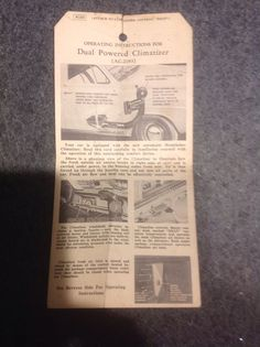 1950 Studebaker Operating Instructions for Dual Powered Climatizer | Collectibles, Transportation, Automobilia | eBay!