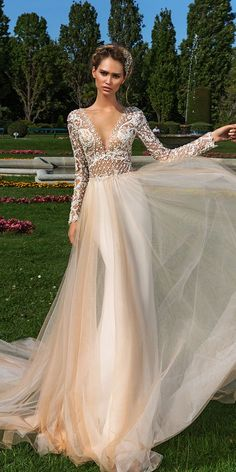 """Crystal Design 2018 Wedding Dresses — """"Royal Garden"""" & Haute Couture Bridal Collections Crystal Design 2018 Long Sleeves V Neck Sheer Buttons Chiffon A Line Wedding Dresses Sheer Button Back Chapel Train (Hadlee) MV – Crystal Design 2018 Bridal Gowns Sheer Wedding Dress, Wedding Dresses 2018, Perfect Wedding Dress, Designer Wedding Dresses, Bridal Dresses, Lace Wedding, Champagne Wedding Dresses, Gown Designer, Wedding Outfits"""