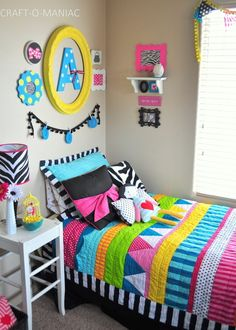 """Today I am sharing a Colorful Little GirlsBedroom. I know I have showed you my daughters bedroom before, but her polka dot bedspread did not stay cute after 3 washes. It terribly faded and was a big disappointment. So before Christmas I ventured online to none other then the wonderful """"Target .com."""" Online I searched …"""