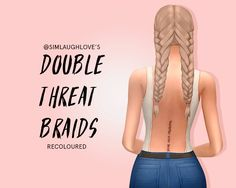 "@simlaughlove's double threat braids recoloured my first ever recolour so please let me know if anything is wrong!! i'm also planning to recolour and dump a bunch of ea hairs in this palette so message me if you want a particular one done ""16..."
