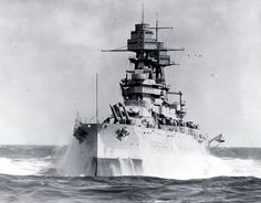 80-G-463589: USS Arizona (BB-39). Pitching in heavy seas during the 1930s. Official U.S. Navy Photograph, now in the collections of the National Archives.