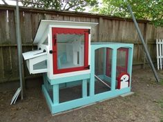 "Great ideas for adding a bit of ""cute"" to a chicken coop. Love - the simple construction; nest boxes and pop door with easy access from large side door (also big enough for easy cleaning & feeding); adorable-ness factor; ventilation. What I'd change - make coop and run larger; make mobile; small ventilation holes in nest boxes, rather than the pop-up sides;"