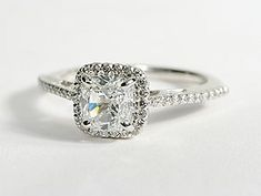 Cushion Cut Halo Diamond Engagement Ring in 18K White Gold #BlueNile    Am in love with it!