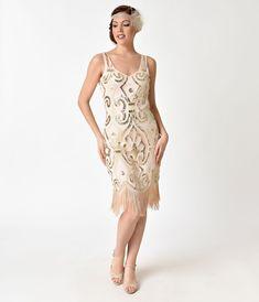 1920s Flapper Dresses & Quality Flapper Costumes Unique Vintage Peach Gold Sequin Arielle Fringe Flapper Dress $98.00 AT vintagedancer.com