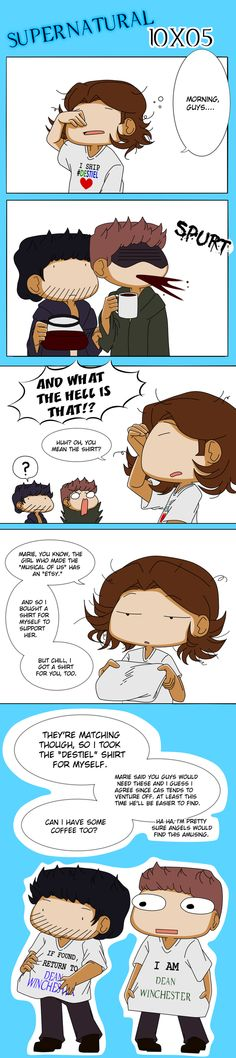 T-Shirts by VaryuPon #destiel fanart. The he he he he oh man, would love to see this.