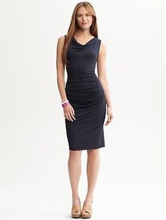 Cowlneck side-shirred knit dress | Banana Republic