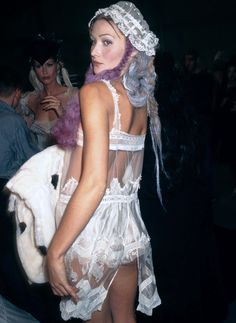 Carla Bruni backstage at John Galliano Spring 1994.