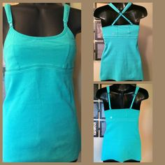 Lululemon Adjustable strap Tank. HTF color. GUC Lululemon Cotton Ribbed Tank bottom has almost a frayed look. Just part of the style.  Size: 6  Color: Aqua Greenish/Blue  Padded adjustable straps. Can cross them or not.  Built-in bra  Mesh lining underneath bra area  No holes or stains  Pic shows it with a blue and green shirt so you can compare the color.s Priced accordingly.  Hard to find color. lululemon athletica Tops Tank Tops