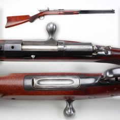 Remington Keene rifle - This design was the Remington factory's first production bolt-action rifle. In .40-60 chambering, our pictured rifle is a deluxe sporting version, and some .45-70 guns went to the Army, Navy and even the US Department of the Interior. Featuring a magazine cutoff for single shot usage, the tubular magazine under the barrel could also be easily refilled from underneath. As only about 5,000 were made from 1880-83, we're honored to have this unusual NRA-owned Remington.