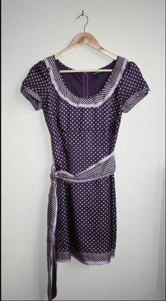 Vintage Style Warehouse Fashion Designer Tea Dress Size M Violet Polka Dot Midi