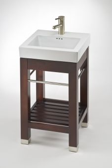 17.9 Inch Single Sink Square Console Bathroom Vanity with White Ceramic Sink