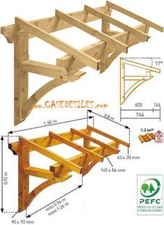 Auvent en bois à Prix Discount : Auvent bois de porte et fenêtre 1 pan by shmessa Porch Awning, Porch Roof, Front Door Awning, Woodworking Plans, Woodworking Projects, Door Overhang, Garage Pergola, Pergola Roof, Window Awnings