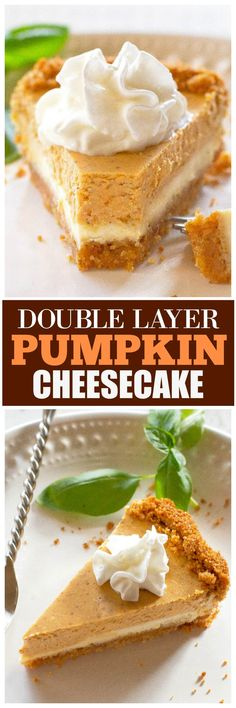 Double Layer Pumpkin Cheesecake has a spiced pumpkin layer and a layer of vanilla cheesecake. Such an easy dessert! Double Layer Pumpkin Cheesecake has a spiced pumpkin layer and a layer of vanilla cheesecake. Such an easy dessert! Double Layer Pumpkin Cheesecake, Pumpkin Cheesecake Recipes, Pumpkin Recipes, Homemade Cheesecake, Cheesecake Cookies, Keto Cheesecake, Thanksgiving Desserts Easy, Easy Desserts, Delicious Desserts