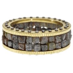 18ky gold and palladium, with raw diamond cubes (14 ctw) ring by Todd Reed