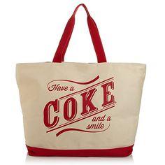 COKE COCA COLA SODA REUSABLE SHOPPING BAG TOTE RECYCLED LIVE POSITIVELY