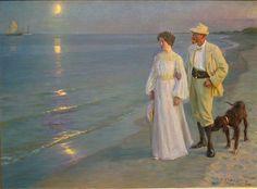 Peder Severin Krøyer - Summer Evening at Skagen Beach.  The Artist and his Wife.  1899