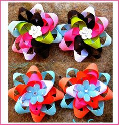 Other: Ribbon Hair Flower Bows Clippies