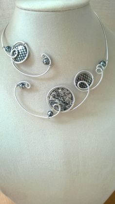 Aluminium wire necklace  Gray jewelry  Gray by LesBijouxLibellule