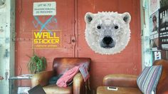 ROCK that WALL sticker Polar Bear Afmetingen sticker: 57 cm x 54 cm Prijs: euro Blue Bird, Wall Sticker, Polar Bear, Studio, Diamond, Painting, Animals, Euro, Rock