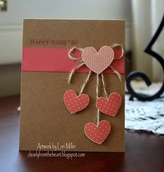 Clearly from the Heart: Countdown to Valentine's Day - Day Five: Heart Card Valentines Day Cards Handmade, Valentine Day Crafts, Greeting Cards Handmade, Love Cards, Diy Cards, Decorated Gift Bags, Heart Cards, Creative Cards, Scrapbook Cards