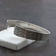 Unisex Sterling Silver Handmade Cuff Bracelet, Hand Stamped Boho Band Bracelet Gift for Him, Men's Jewelry