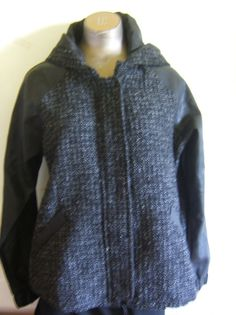 Forever 21 Black Tweed Black Faux Leather Hooded  Lined Winter Jacket Size L #Forever21 #BasicJacket