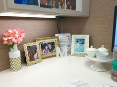 My Cubicle Decor And Organization. The Cake Stand Has 3 Cute Little Cups  Where I Have Tacks, Rubber Bands, U0026 Paper Clips. I Didnu0027t Want Boring Office  ...