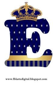 Alphabet with Golden Crown in Blue. Baby Shower Bunting, Prince Birthday Party, Alphabet Wallpaper, Alphabet Design, Monogram Alphabet, Baby Shawer, Baby Princess, The Little Prince, Alphabet And Numbers