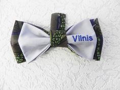 Vilnis, Embroidered bow tie with Vilnis name tag, handmade by Betolli