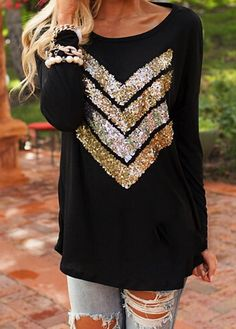 Black Batwing Sleeve Sequins Decorated T Shirt ROS