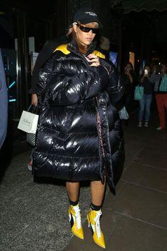 AUGUST 19, 2016  Rihanna shopping at Harrods in London wearing a Raf Simons puffer coat.  SPLASH