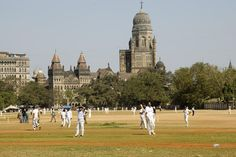 Cricket match at Azad Maidans in Fort. Mumbai