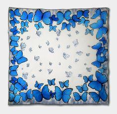 Hand painted silk scarf Blue butterflies by JoannaArtDesign