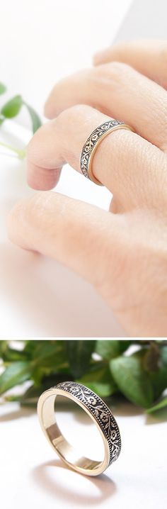 Petunia wedding band in 14k yellow gold. Handmade by Chuck Domitrovich of Down to the Wire Designs.