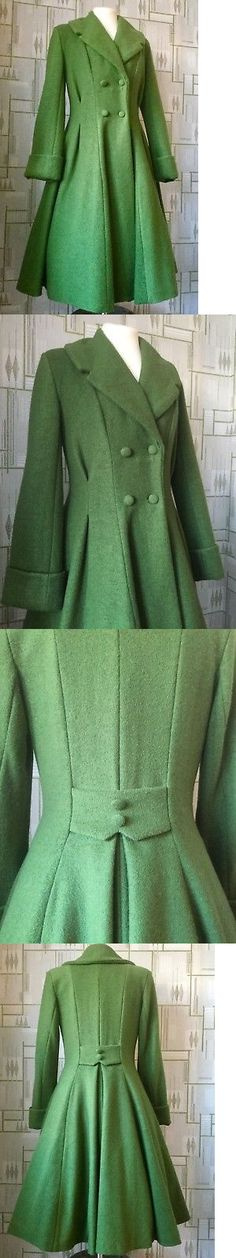 fc60456d2f3 Coats Jackets and Vests 175783  Ladies Tailored 1940S 50S Vintage  Swingwinter Coat Olive Green 8.16