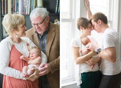 3 pictures, each set of grandparents holding the newborn and the parents holding the newborn.