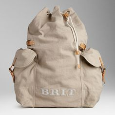 Burberry Brit Leather Detail Cotton Backpack