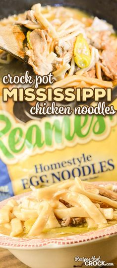 Our Crock Pot Mississippi Chicken Noodles combines two of our favorite recipes to serve up the ultimate comfort food for your family dinner or holiday table. #Ad #Reames #HomemadeGoodness #ComfortFood #crockpot @WFDRecipe