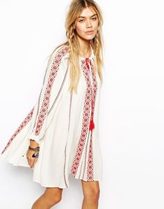 ASOS Swing Dress With Long Sleeves And Embroidery. Wish this weren't sold out!