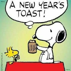 Snoopy & woodstock a new year's toast