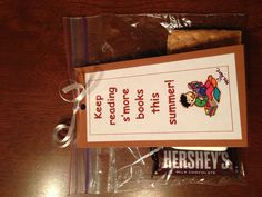 My end of the year student gift.A bookmark with s'more makings to give students with a book!
