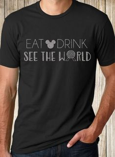 "Disney Inspired Epcot ""Eat Drink See the World"" Mickey Tee Shirt Tank"