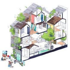 Idea Saigon House by studio in Ho Chi Minh City, Vietnam Studios Architecture, Architecture Drawings, Architecture Plan, Architecture Graphics, Casa Hotel, Architectural Section, Concept Diagram, House Drawing, Ho Chi Minh City