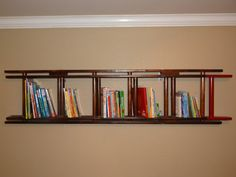 Handmade unique ladder bookshelf perfect for your little firefighter's room!