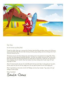 Surfing Santa! New for 2014 at Letters from Santa www.EasyFreeSantaLetter.com