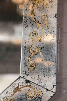 Verre Eglomise Mirror Attributed to Maison Jansen 6 Scrollwork on mercury glass Mirror Crafts, Diy Mirror, Mirror Art, Mosaic Mirrors, Mosaic Wall, Mirror Painting, Stencil Painting, Mirror Wall Clock, Vintage Mirrors