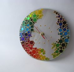 The Rainbow Bubbles Hand Painted Mirrow Wall Clock Stained glass painting wall clock with the colored bubbles. It can make unique gift for any occasion or be great a decoration in your house. Mirror Wall Clock, Wall Clock Design, Clock Art, Diy Clock, Round Wall Mirror, Clock Ideas, Mirror Bedroom, Mirror Set, Mirror Ideas
